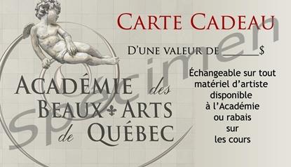 Carte cadeau de l'Académie des Beaux-arts de Québec